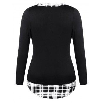 Plus Size Checked Henley T-shirt - BLACK L