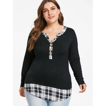 Plus Size Checked Henley T-shirt - BLACK 3X