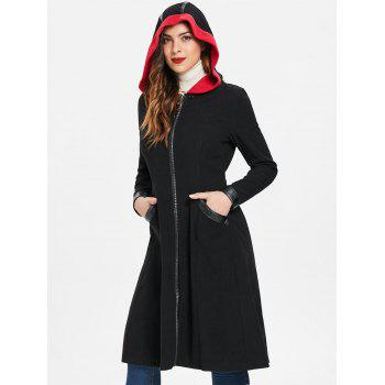 Halloween Duster Zipper Coat avec Cape - Noir XL