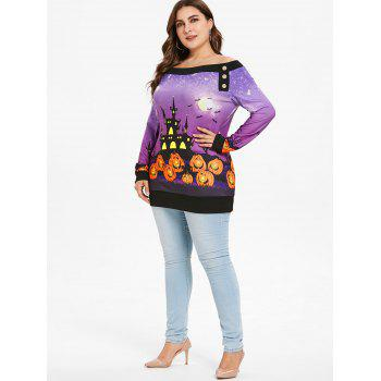 Plus Size Off Shoulder Pumpkin Sweatshirt - multicolor L