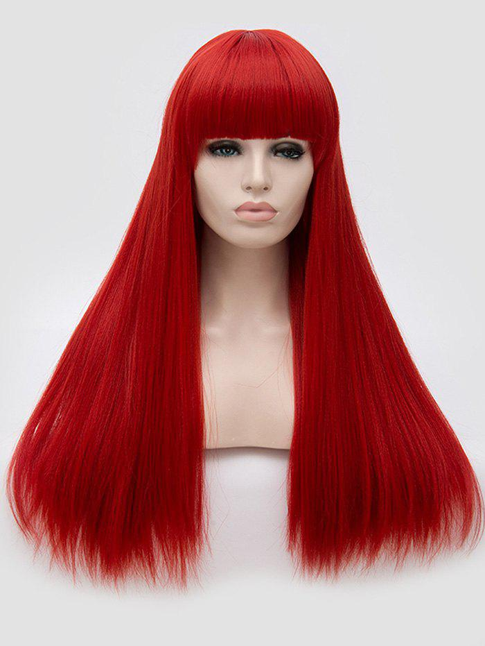 Gothic Style Full Fringe Long Straight Party Synthetic Wig - RED