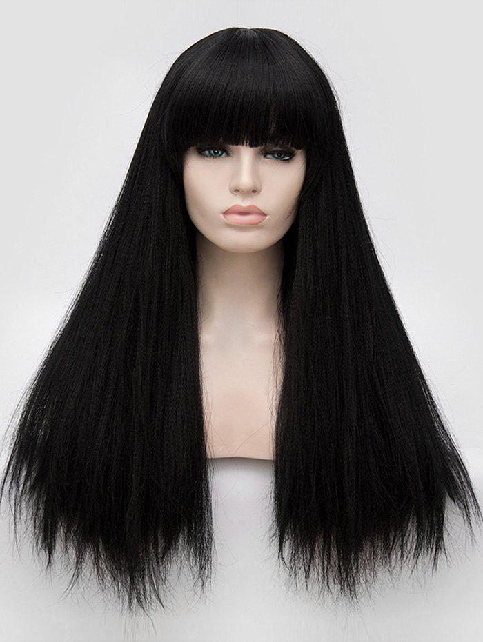 Gothic Style Full Fringe Long Straight Party Synthetic Wig - BLACK
