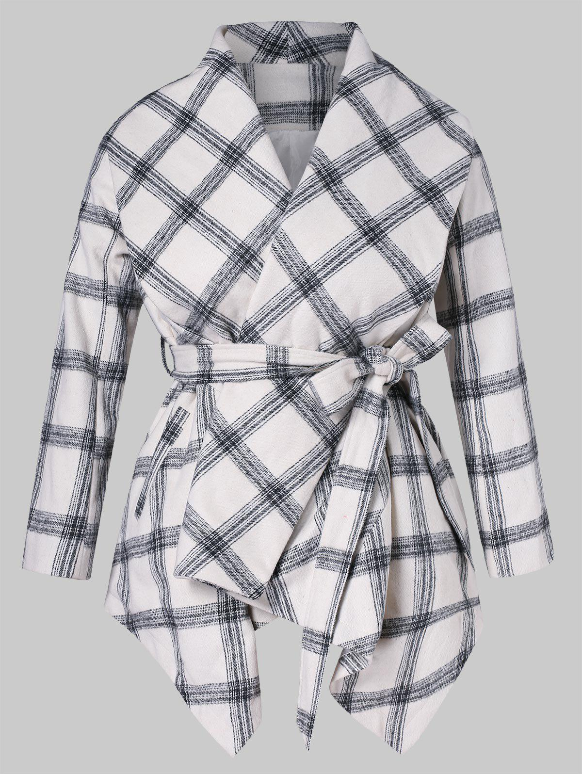 Asymmetrical Shawl Collar Plaid Belted Coat - WHITE 4X