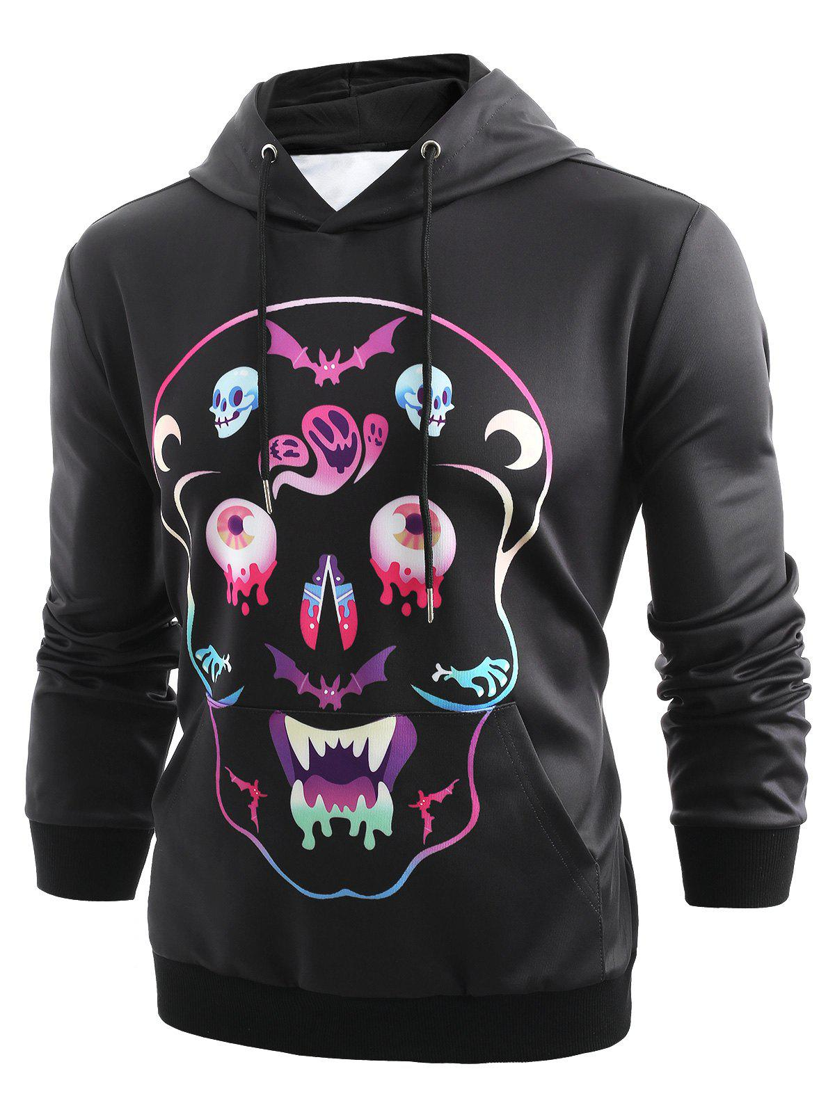 Halloween Colorful Skull Printed Pullover Hoodie фото