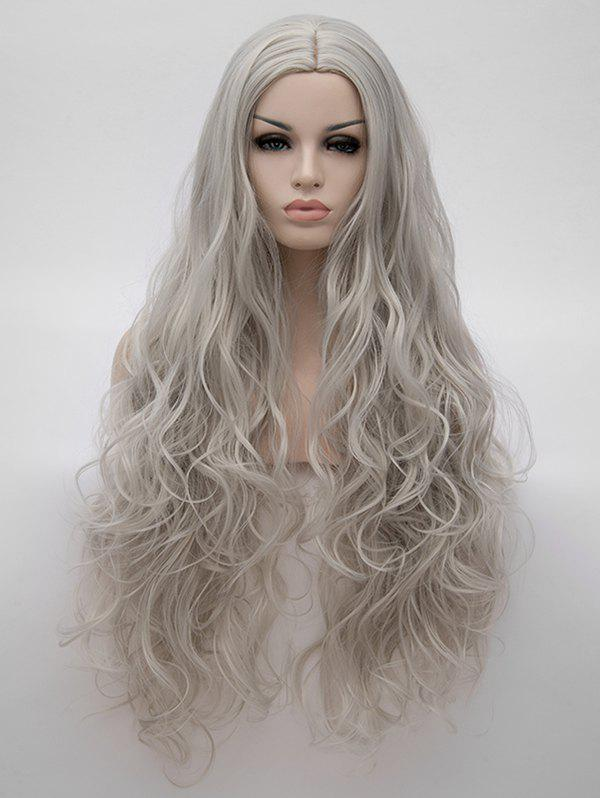 Ultra Long Center Parting Wavy Synthetic Anime Cosplay Wig - PLATINUM