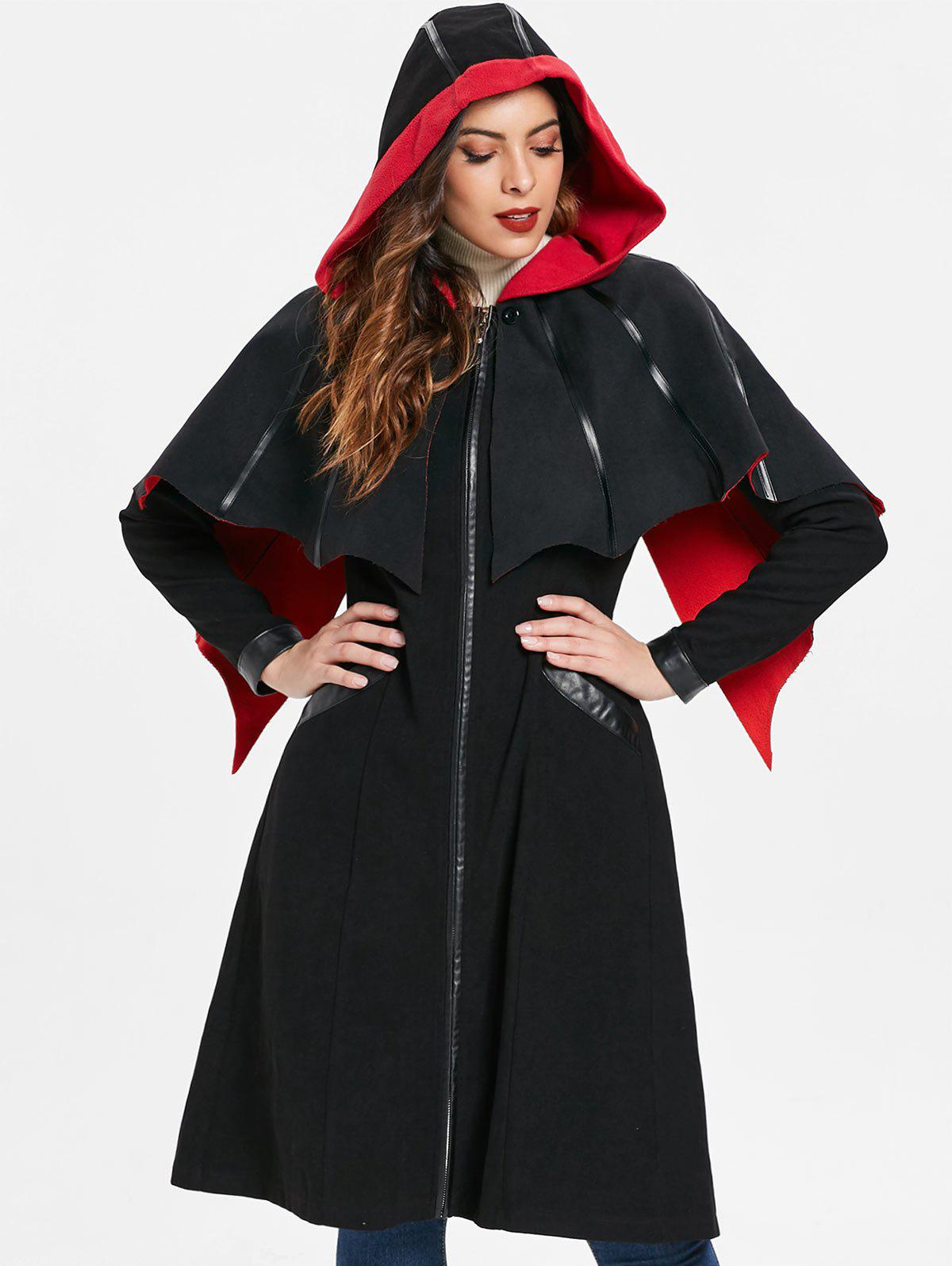 Halloween Duster Zipper Coat with Cape - BLACK S