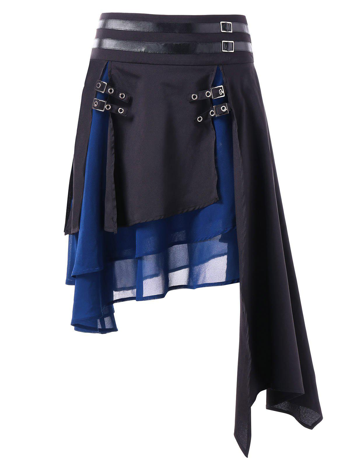 Contrast Asymmetrical Layered Skirt - BLACK L