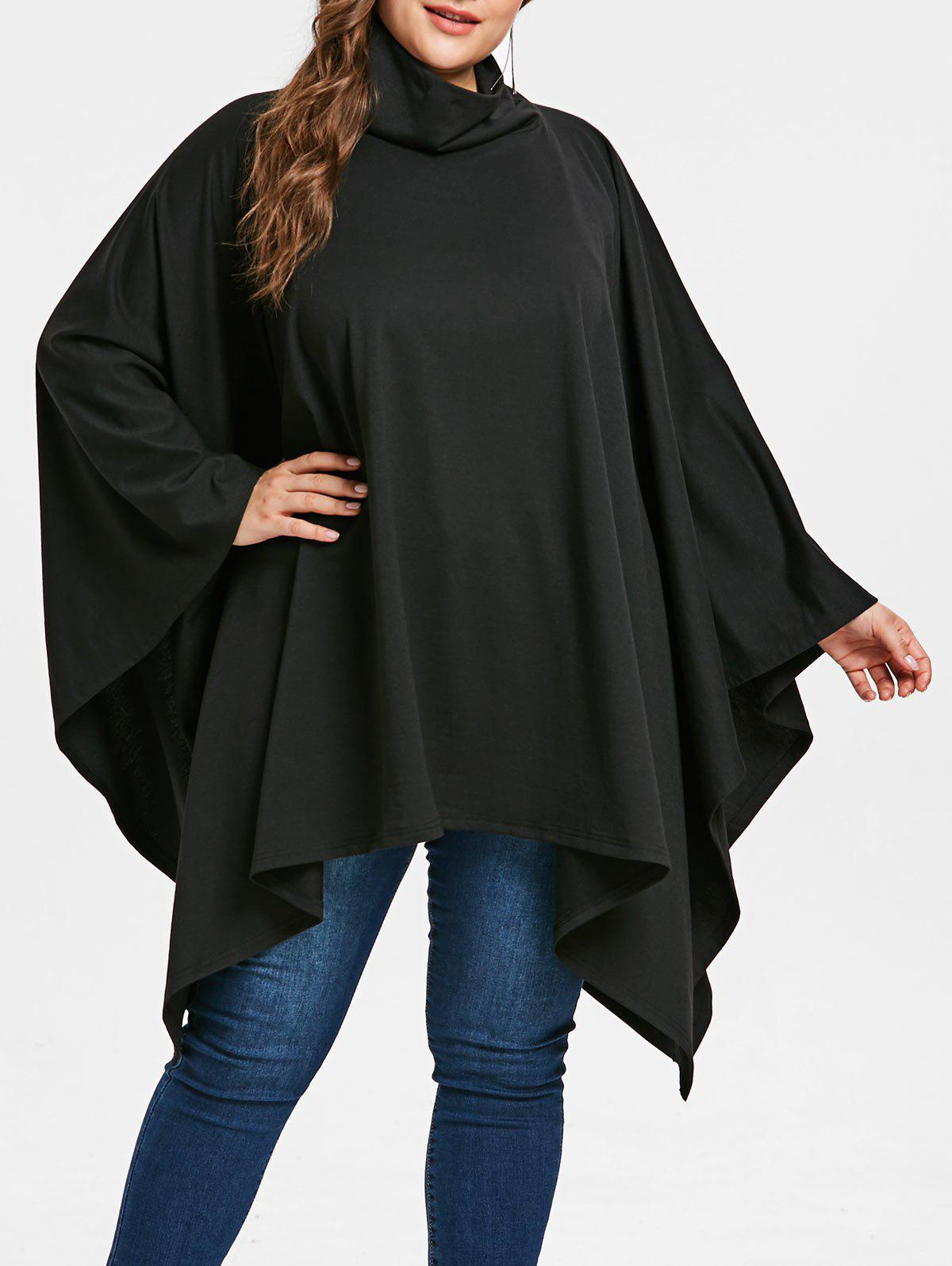 Plus Size Asymmetric Cape Top - BLACK 1X