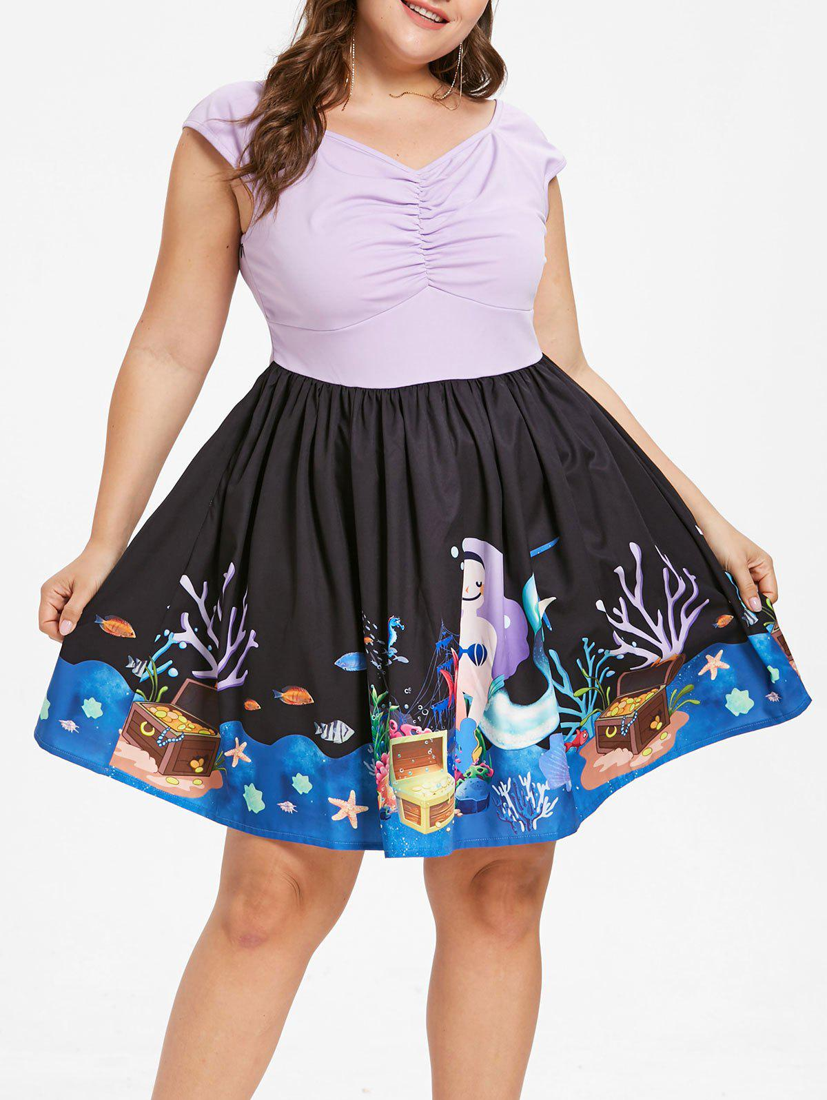 Plus Size Cap Sleeve Underwater Print Dress - MAUVE 4X