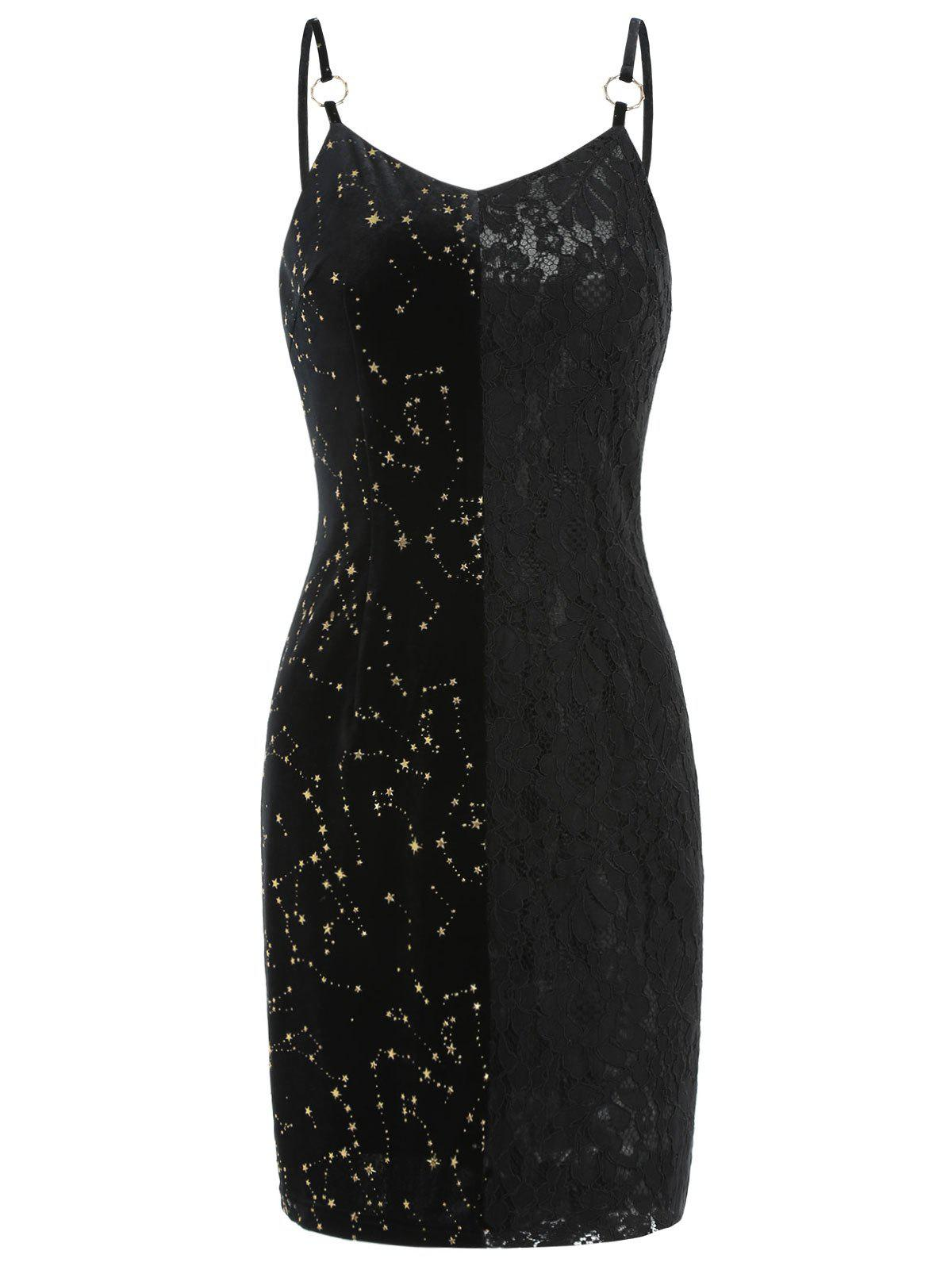 Velvet Lace Insert Star Mini Dress - BLACK L