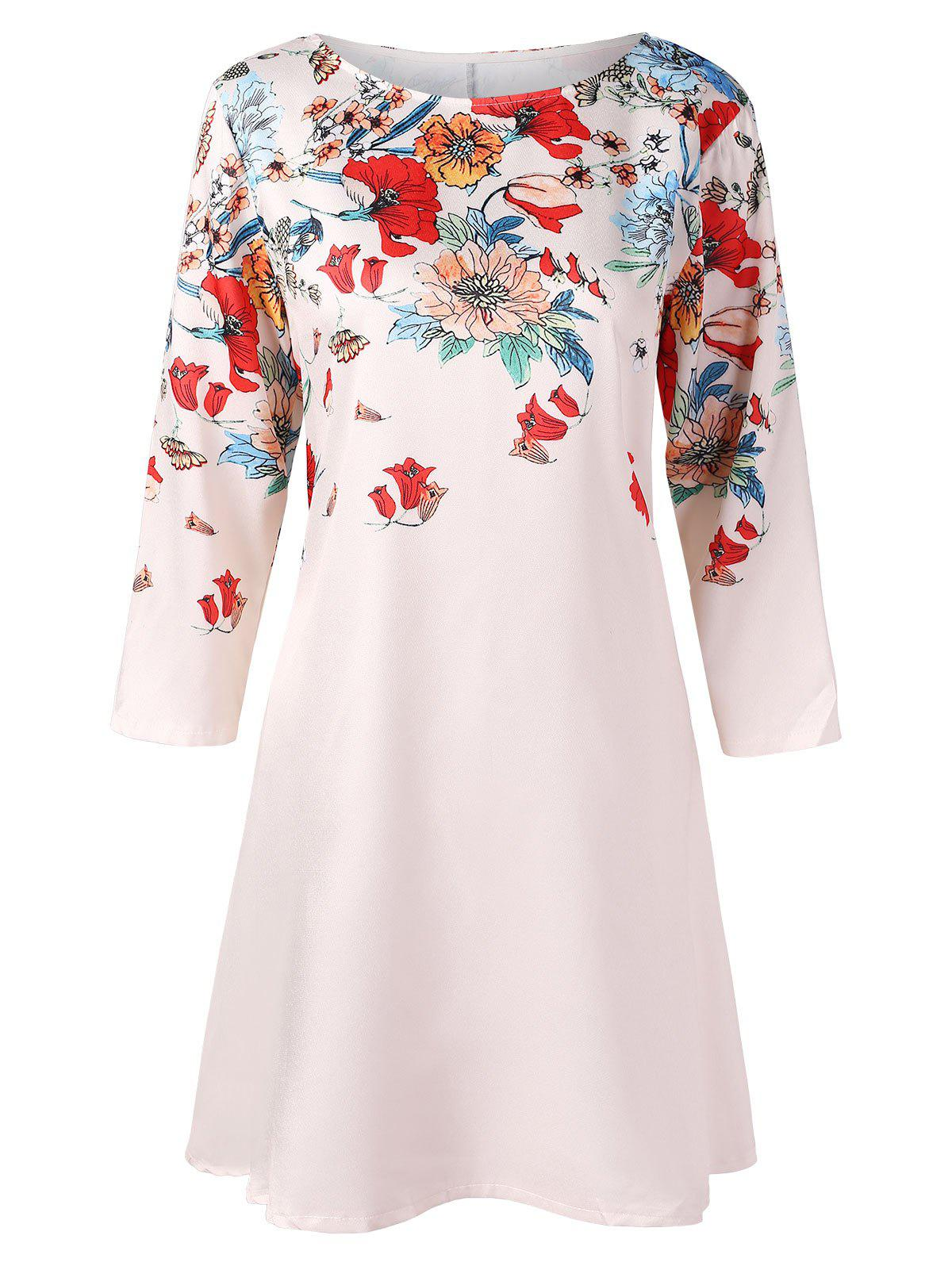 Floral Print Shift Dress - MILK WHITE L