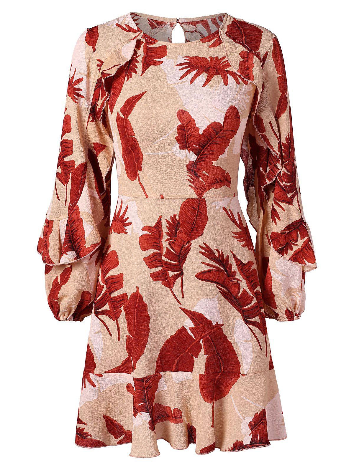 Leaf Print Cut Out Flounce Dress - multicolor M