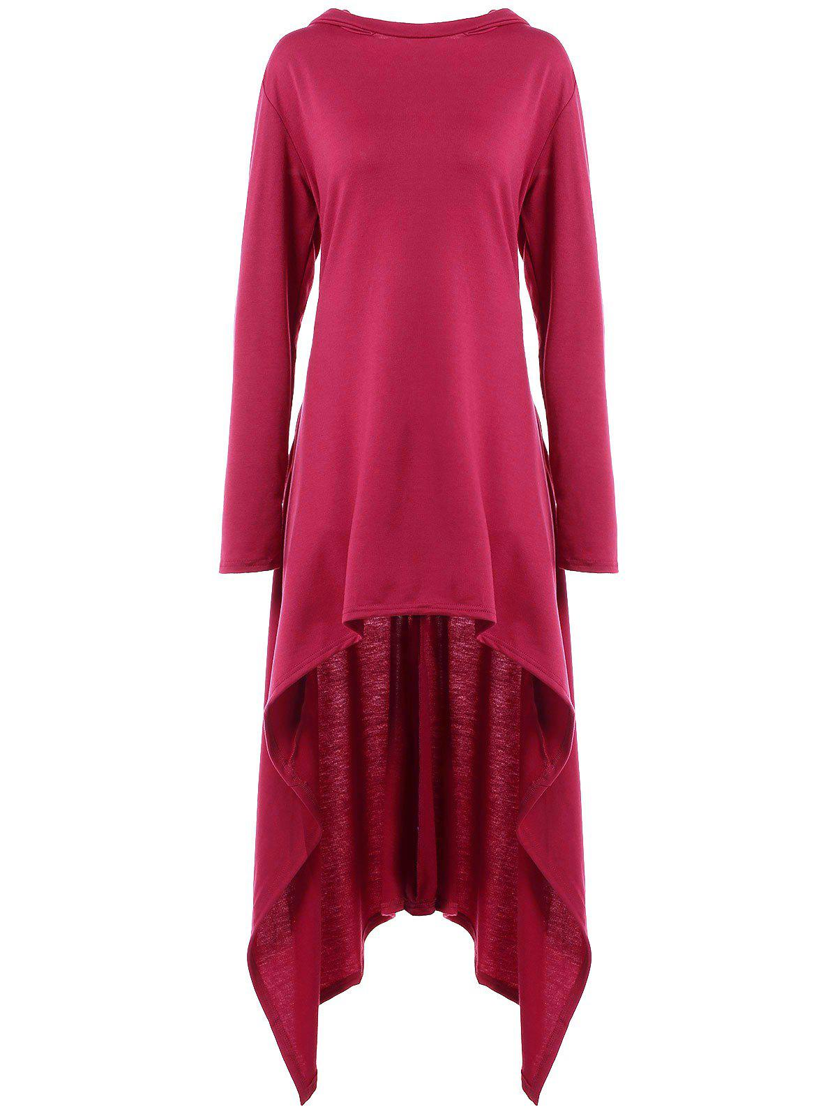High Low Hooded Dress with Long Sleeves - RED VIOLET M