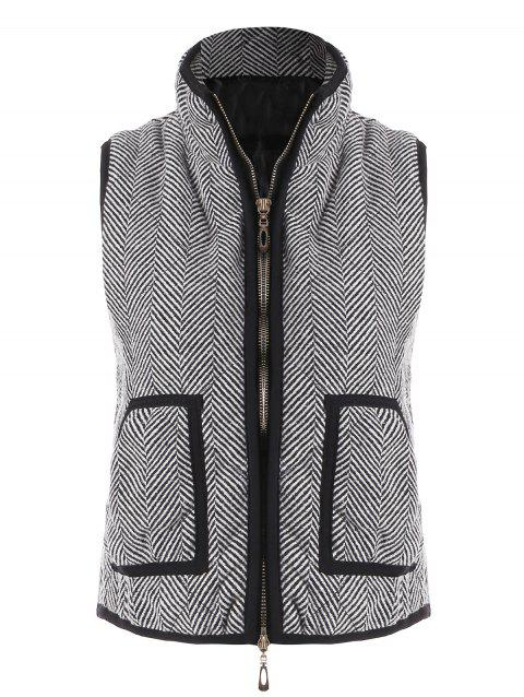 Zip Up Pocket Herringbone Vest - GRAY M