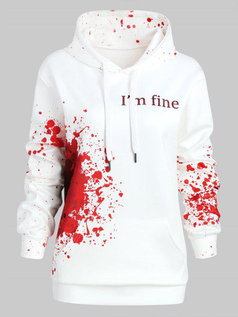 Plus Size Splatter Halloween Theme Hoodie - RED 2X