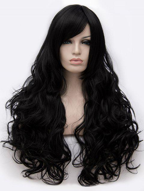 Long Inclined Bang Loose Wave Cosplay Party Synthetic Wig - BLACK