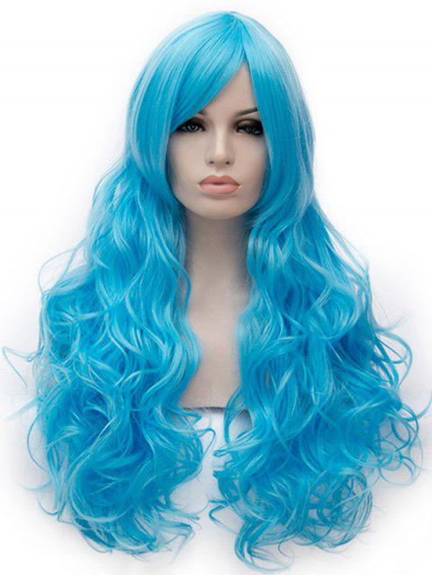 Long Inclined Bang Loose Wave Cosplay Party Synthetic Wig - DAY SKY BLUE