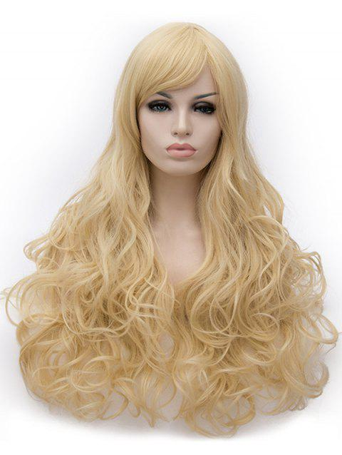 Long Inclined Bang Loose Wave Cosplay Party Synthetic Wig - BLONDE