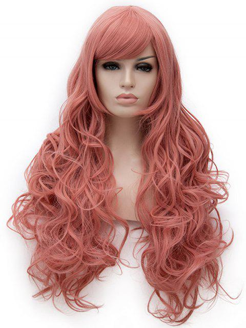 Long Inclined Bang Loose Wave Cosplay Party Synthetic Wig - LIGHT CORAL