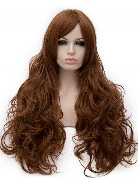 Long Inclined Bang Loose Wave Cosplay Party Synthetic Wig - BROWN