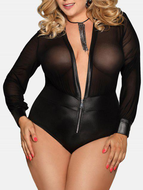 Sheer Plunge Plus Size Lingerie Teddy - BLACK 1X