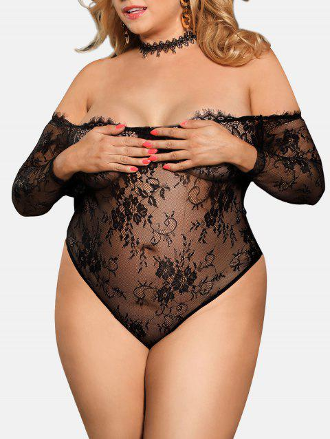 Sheer Lace Off Shoulder Lingerie Teddy - BLACK 1X