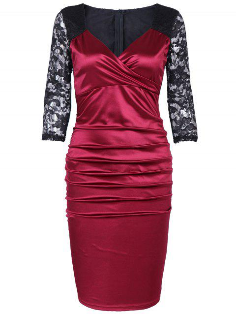 Plus Size Lace Panel Contrast Tight Dress - RED WINE ONE SIZE