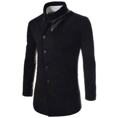 Trendy Slimming Stand Collar Manches longues Single-Breasted Design Solid Color Hommes long laine Overcoat - Noir XL