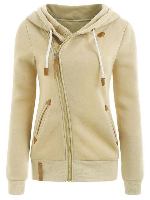 Casual Style Solid Color Long Sleeves Women's Hoodie - KHAKI L