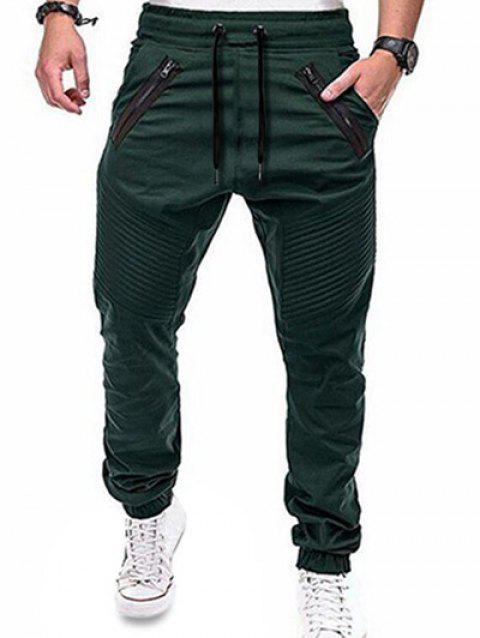 Elastic Waist Zippers Embellished Jogger Pants - DARK GREEN M