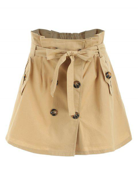 Double Breasted A Line Skirt - LIGHT KHAKI M