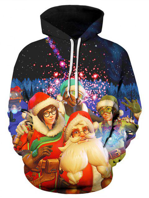 Plus Size Santa Claus Christmas Hoodie - multicolor 1X
