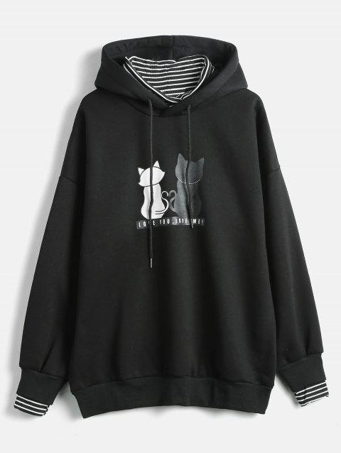 Plus Size Striped Panel Graphic Hoodie - BLACK 1X