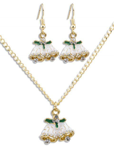 Christmas Bells Design Chain Necklace Earrings Set - GOLD