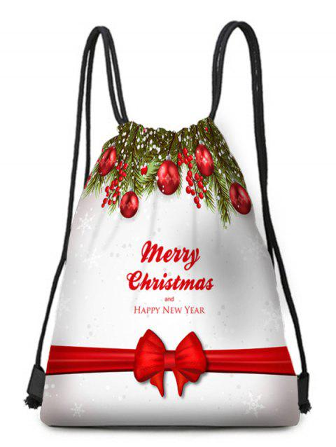 Happy New Year Drawstring Christmas Gift Bag - multicolor