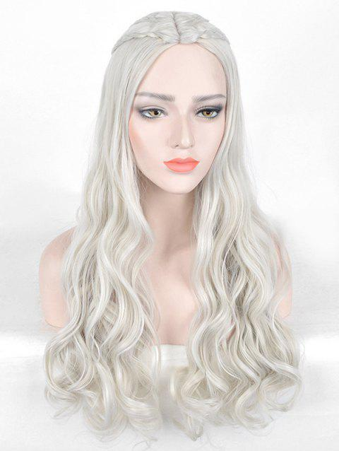 Center Parting Long Braids Wavy Film Character Cosplay Synthetic Wig - PLATINUM