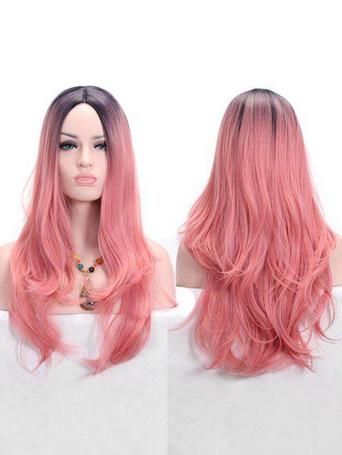 Middle Part Long Party Colormix Slightly Curly Synthetic Wig - LIGHT CORAL