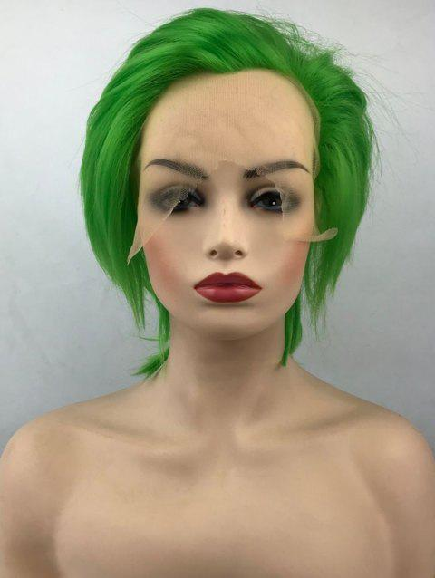 Short Free Part Straight Cosplay Anime Lace Front Synthetic Wig - GREEN