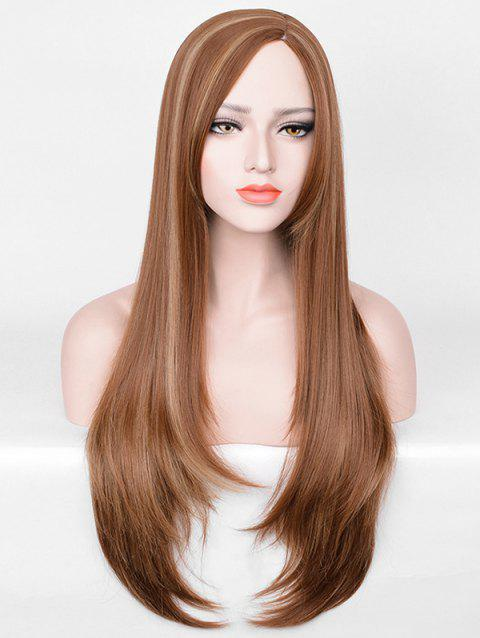 Synthetic Long Side Parting Highlighted Straight Wig - BROWN