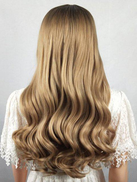 Long Middle Part Synthetic Wavy Wig - multicolor