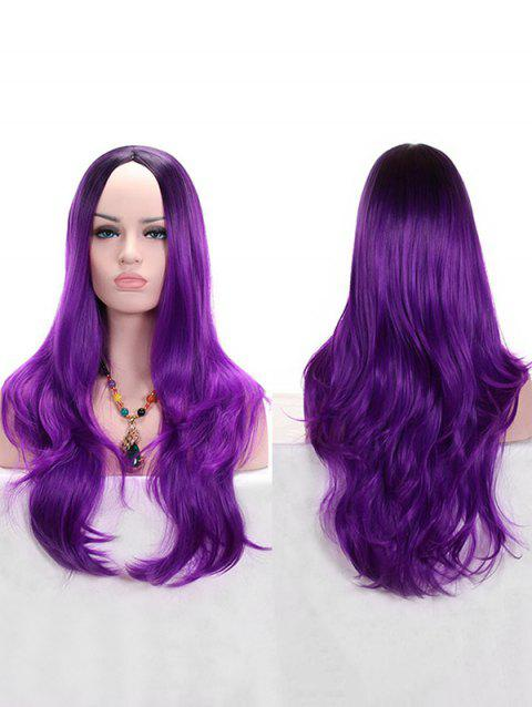 Long Middle Part Wavy Colormix Synthetic Anime Cosplay Wig - PURPLE