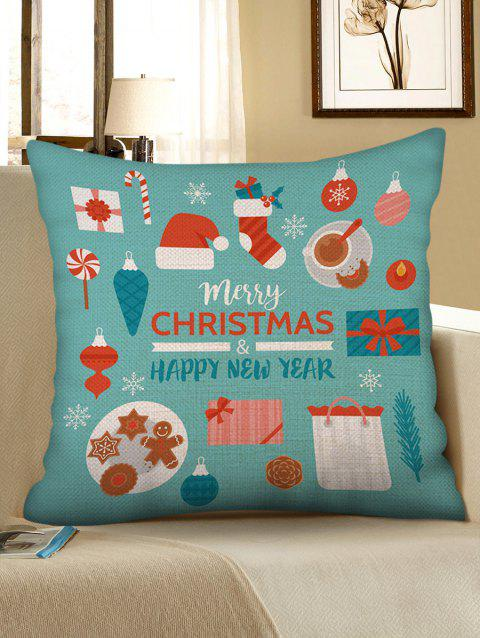 Christmas Themed Pattern Sofa Linen Pillowcase - multicolor W18 X L18 INCH