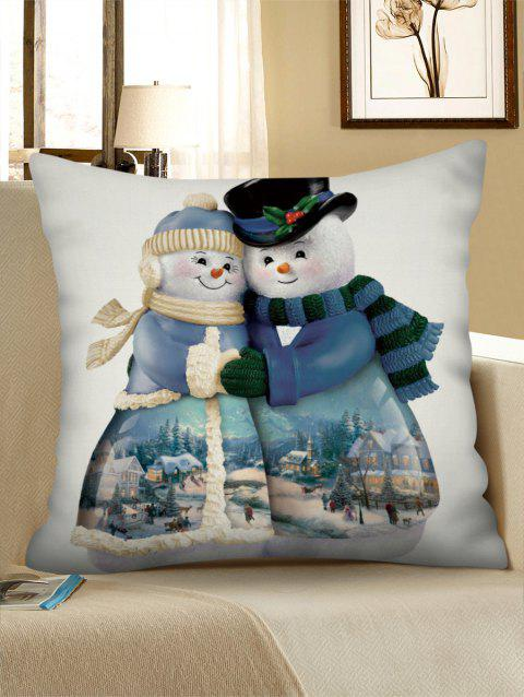 Christmas Snowman Couple Pillowcase - multicolor W18 X L18 INCH