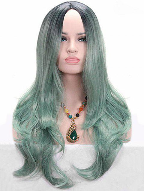 Long Colormix Middle Part Wavy Party Cosplay Synthetic Wig - SEA GREEN