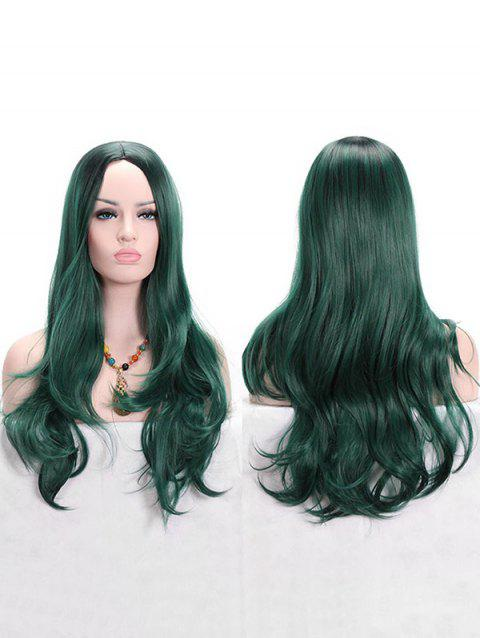 Long Synthetic Colormix Wavy Anime Cosplay Wig - MEDIUM SEA GREEN