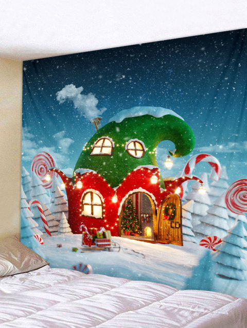 Christmas House Wall Tapestry Art Decoration - multicolor W91 X L71 INCH