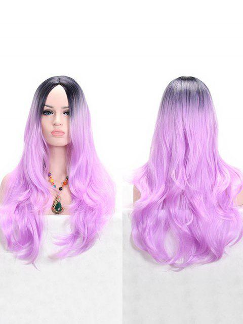 Long Ombre Middle Part Wavy Anime Cosplay Synthetic Wig - PURPLE