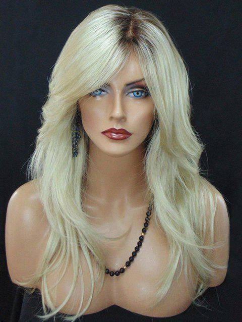 Long Colormix Inclined Fringe Natural Straight Synthetic Wig - multicolor