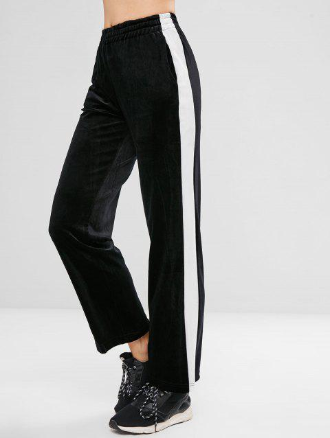 Contrast Trim Velvet Wide Leg Pants - BLACK XL