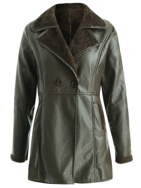 Faux Fur Insert PU Leather Coat - DARK FOREST GREEN ONE SIZE